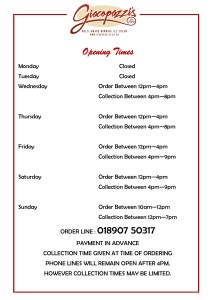 UPDATED opening times